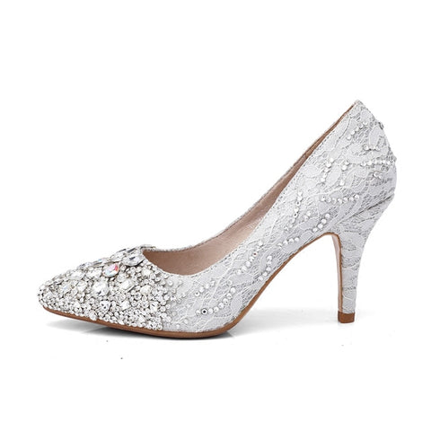 Wedding High Medium Heel Crystal Bridal Shoes