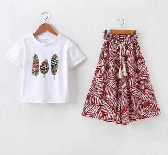 2PC Children Summer Clothes Set Feather Shirt And Bell Bottom Pants