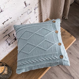 Nordic Solid Pillow Cover Double Cable Knit Diamond Cover