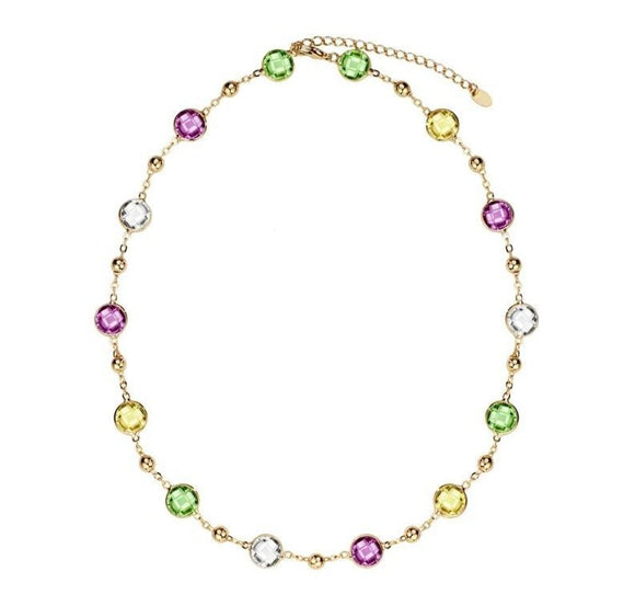 Light Colorful Choker Chain Maxi Long Necklace Crystals from Swarovski