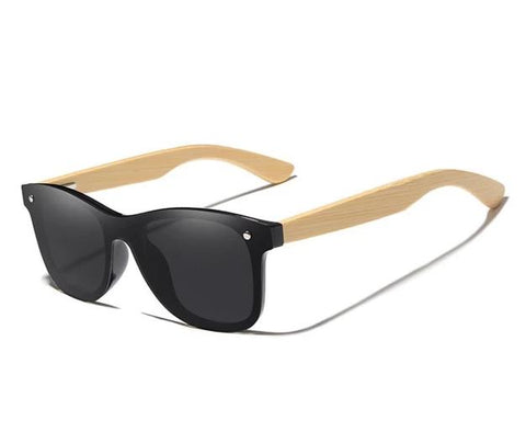 Mens Bamboo Square Retro Sunglasses