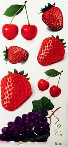 3D Tattoo Red Lip Cherry Strawberry Design Temporary Tattoo