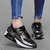 4 COLORS Women Men Sneakers Trainers Lace Up Shoes Casual Fashion Metallic Running Walking