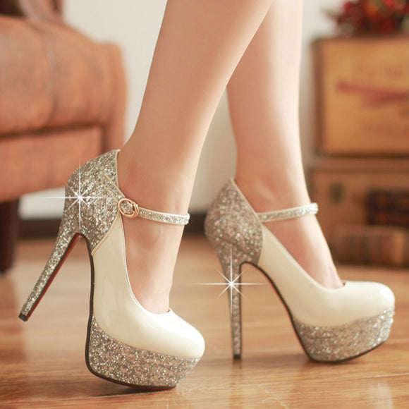 Mary Janes Thin High Heel Party Glitter Pumps 14 cm Party Wedding