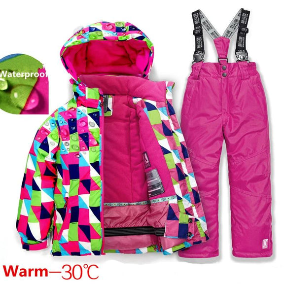 Boys Girls Ski Suit Waterproof Pants Jacket Set Winter Sports Thickened Clothes Snowboarding Skiing