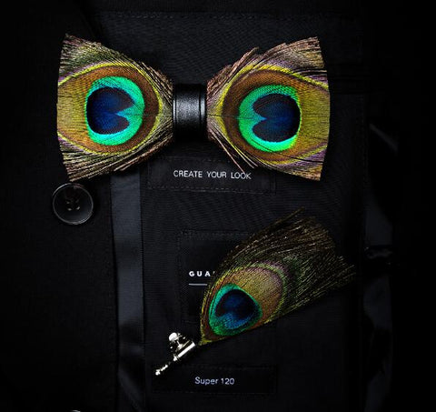 Peacock Feather Brooch Set Bowtie Gift