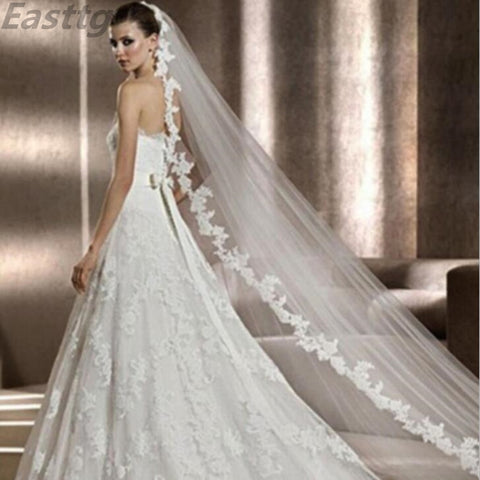 White/Ivory Wedding Veil Lace Cathedral