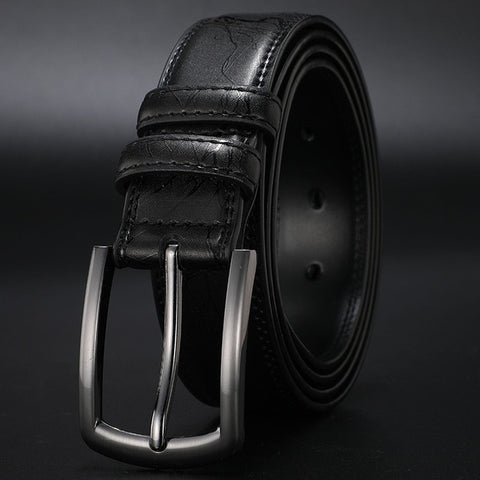 Mens Genuine Leather Belt Pin Buckle