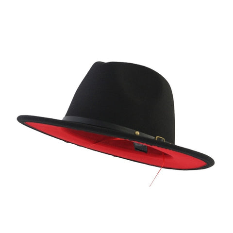 Black And Red Patchwork Wool Fedora Hat