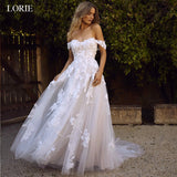 LORIE Lace Wedding Dress Off the Shoulder Appliques A Line Bride Princess Gown