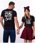 I Said Yes Engagement Matching Couple Tshirt