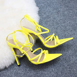 Womens Ankle Cross Strap Sandals High Heels