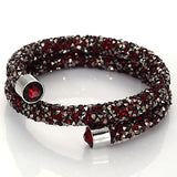 Double Circle Crystal Dust Cuff Bracelet