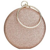 Metallic Sparkle Evening Round Clutch Bag