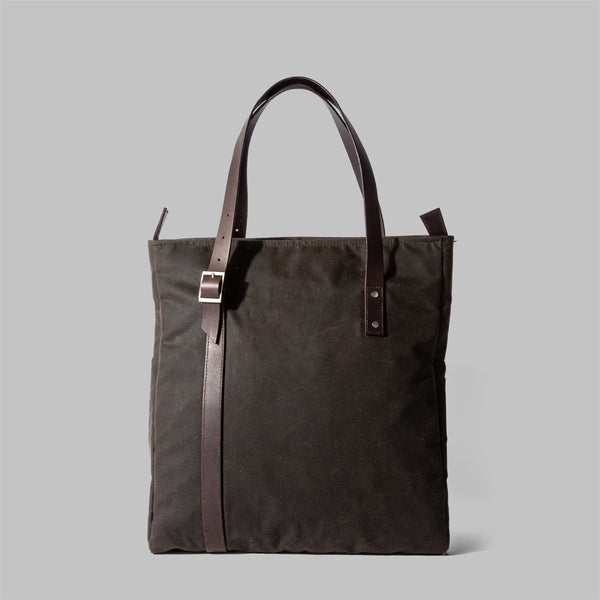 Ladies olive green waxed cotton tote bag | Thorndale