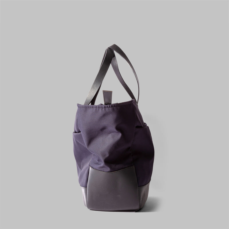 Appdale | Ladies navy nylon & leather tote bag | Thorndale