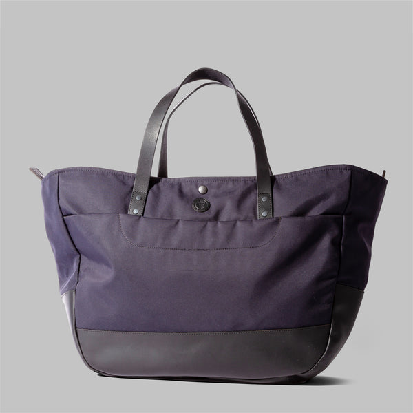 Appdale | Ladies large navy nylon & leather tote bag | Thorndale