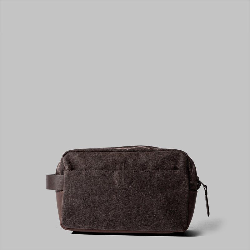 Brindley | Mens Brown Waxed Cotton Wash Bag | Thorndale