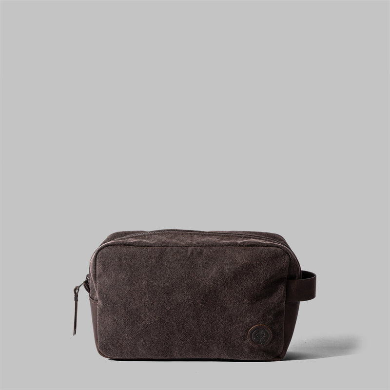 Brindley | Mens Brown Waxed Cotton Wash Bag | Thorndale, UK