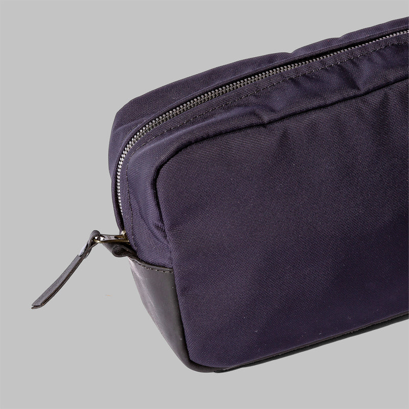 Brindley | Navy Nylon & Leather Wash Bag | Thorndale, UK
