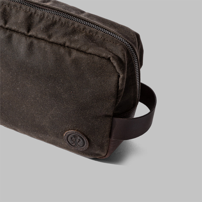 Brindley | Olive Green Waxed Cotton Wash Bag | Thorndale, UK