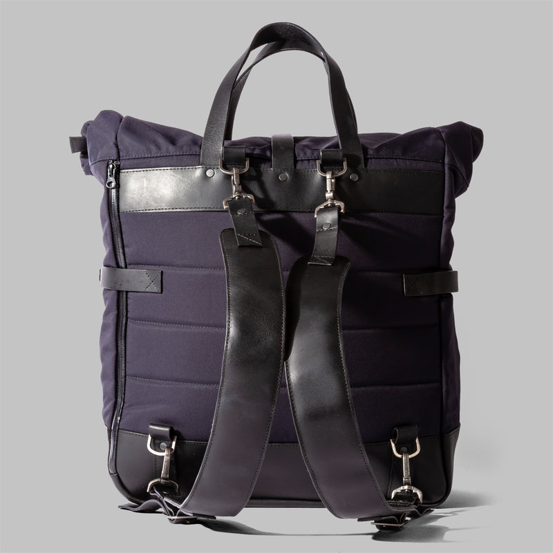 Brocton | Mens Navy Nylon & Leather Rucksack | Thorndale