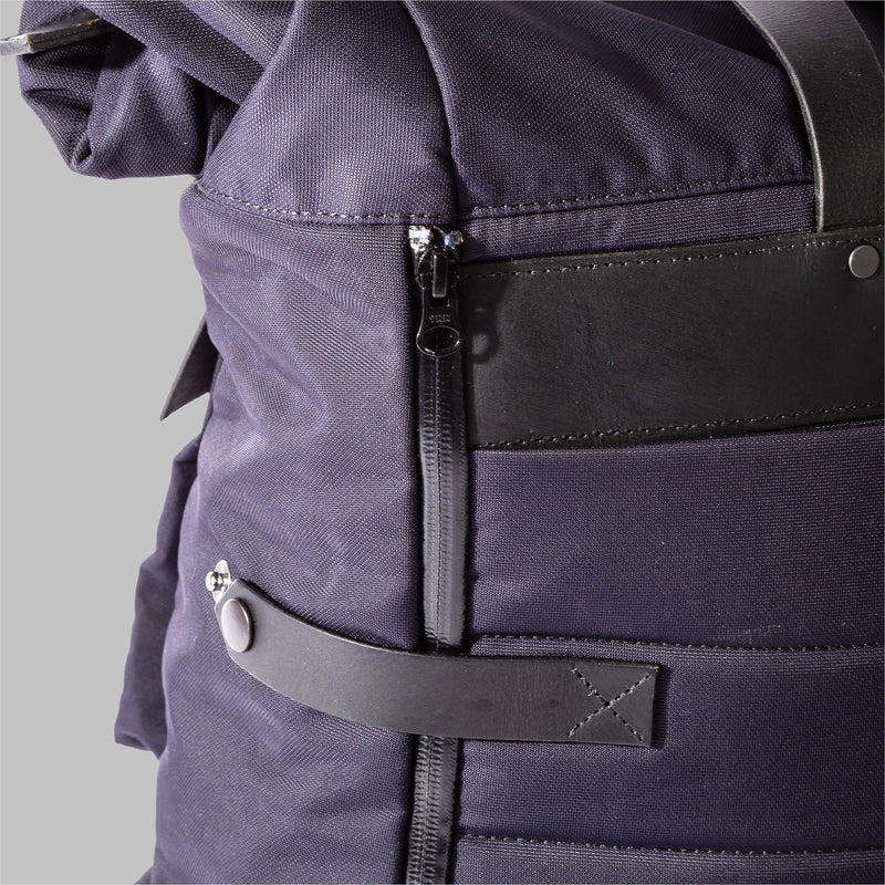 Brocton | Navy Nylon & Leather Rucksack | Thorndale, UK