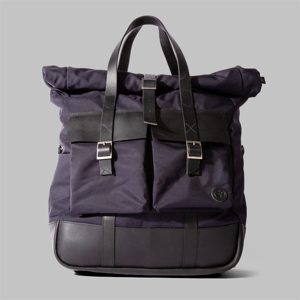 Brocton | Mens Navy Nylon & Leather Rucksack | Thorndale, UK