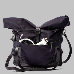 Croxden | Mens Navy Nylon & Leather Satchel | Thorndale, UK