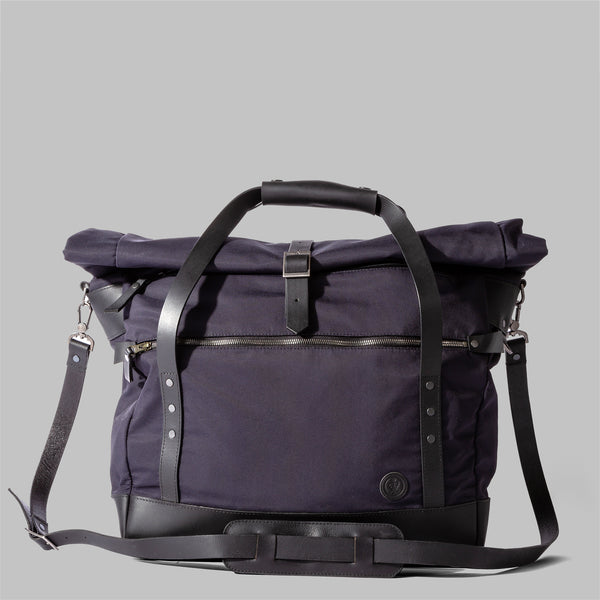 Croxden | Navy Nylon & Leather Satchel | Thorndale, UK