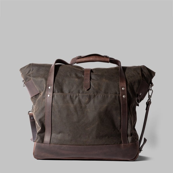 Croxden | Mens Olive Green Waxed Cotton & Leather Satchel