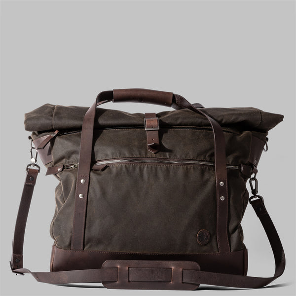 Croxden | Mens Olive Green Waxed Cotton & Leather Satchel | Thorndale