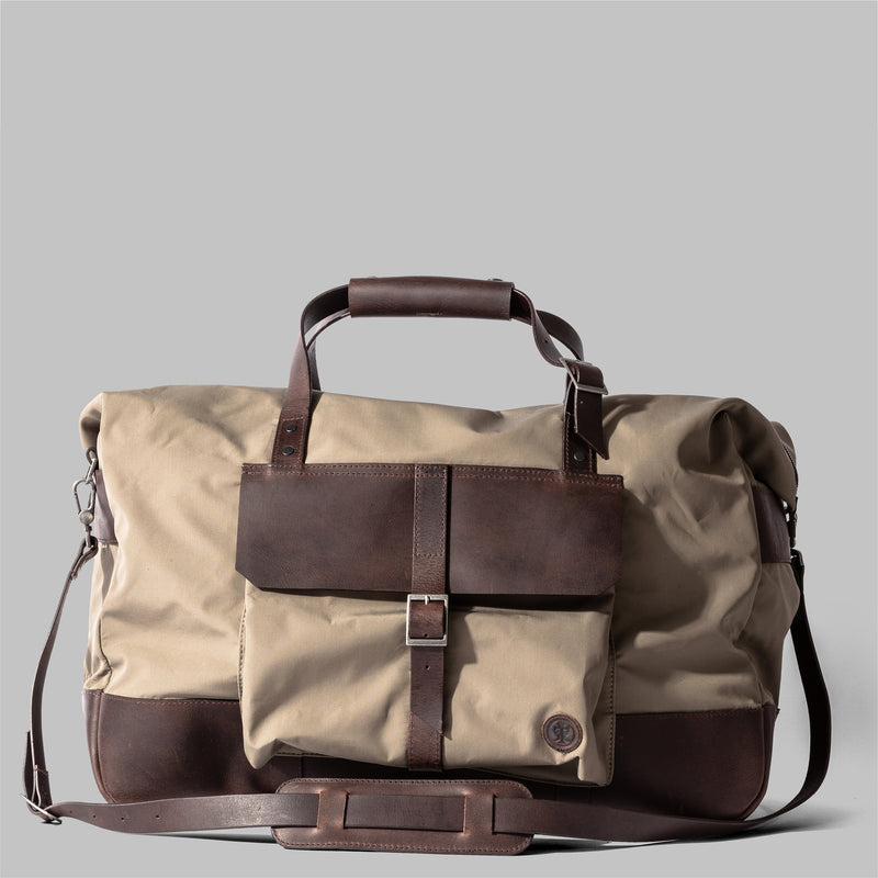 Haughton | Mens Beige Nylon & Leather Holdall | Thorndale, UK