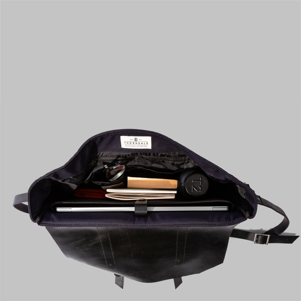 Portland Navy Nylon & Leather Messenger Bag