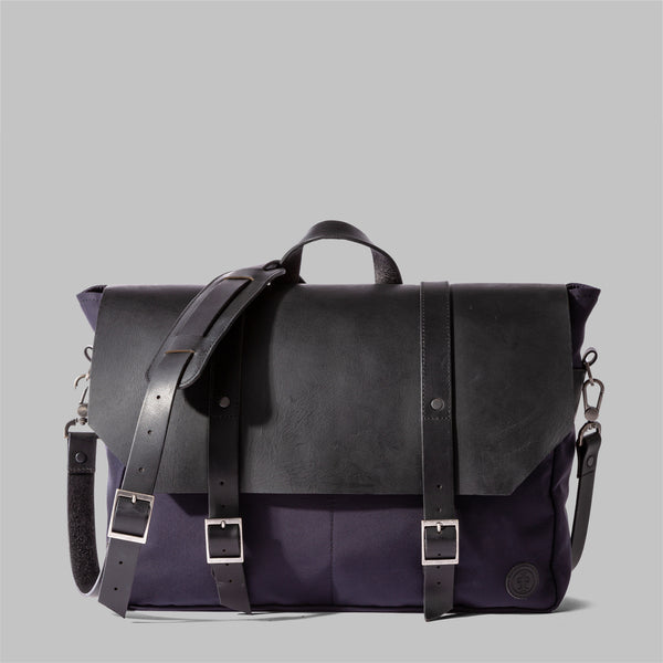 Portland | Navy Nylon & Leather Messenger Bag | Thorndale, UK