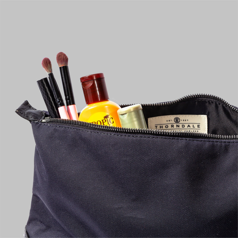 Womens Navy Nylon & Leather Wash Bag | Thorndale, UK