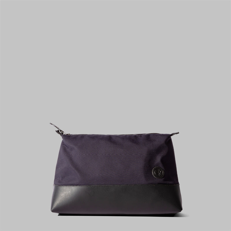 Silverdale | Womens Navy Nylon & Leather Wash Bag | Thorndale, UK