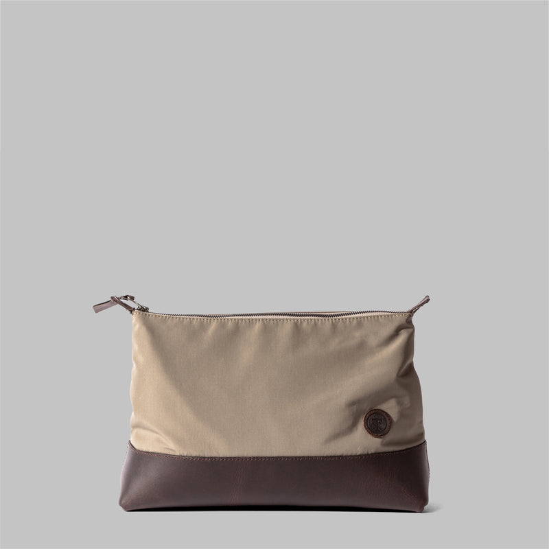 Silverdale | Womens Beige Nylon & Leather Wash Bag | Thorndale, UK
