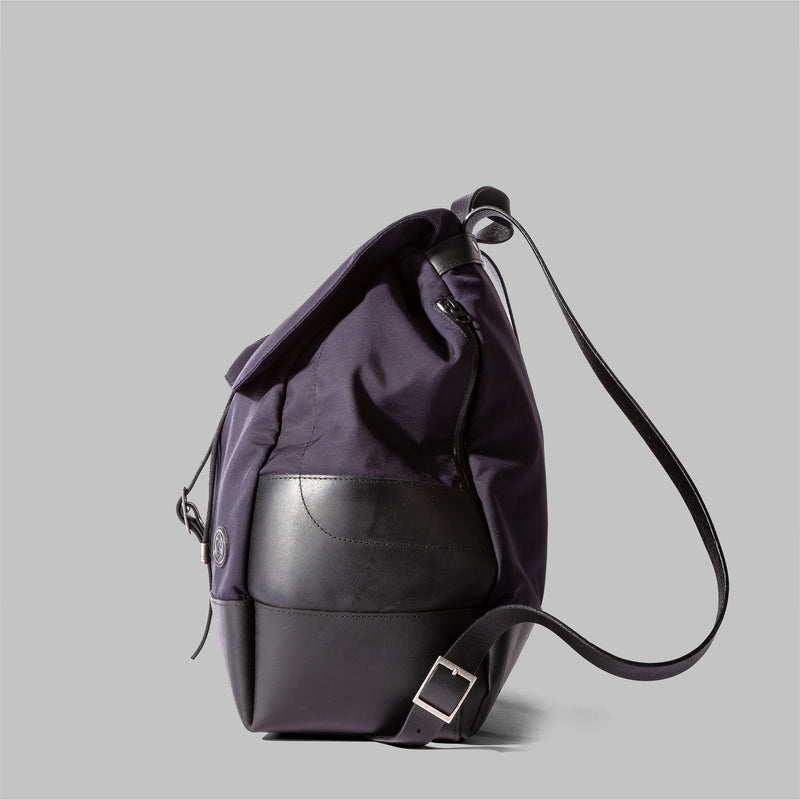 Weston | Navy Nylon & Leather Rucksack | Thorndale, UK