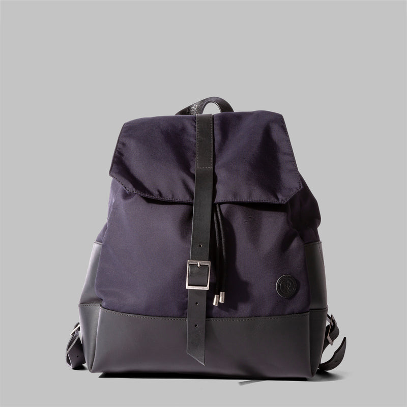 Weston | Womens Navy Nylon & Leather Rucksack | Thorndale, UK