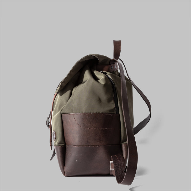 Weston | Womens Olive Green Nylon & Leather Rucksack | UK
