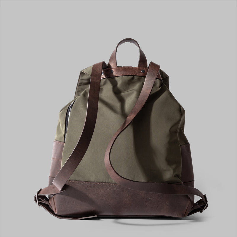 Womens Olive Green Nylon & Leather Rucksack | Thorndale