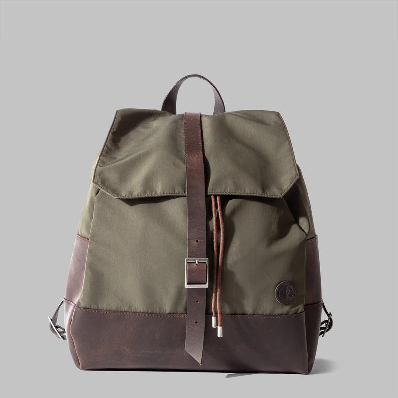 Weston | Womens Olive Green Nylon & Leather Rucksack | Thorndale
