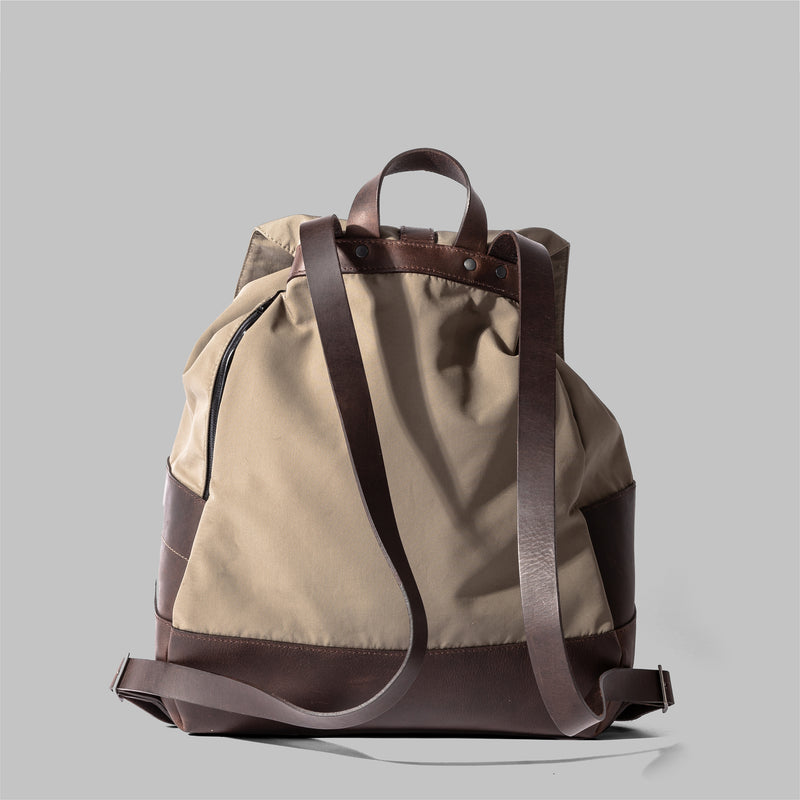 Weston | Womens Beige Nylon & Leather Rucksack | Thorndale