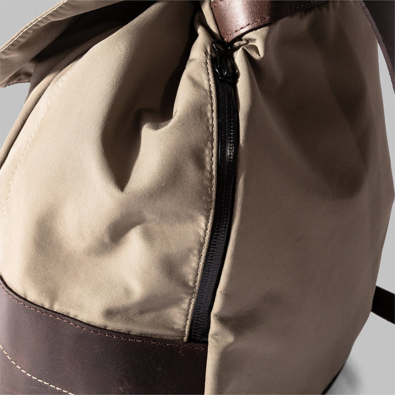 Weston | Womens Beige Nylon & Leather Rucksack