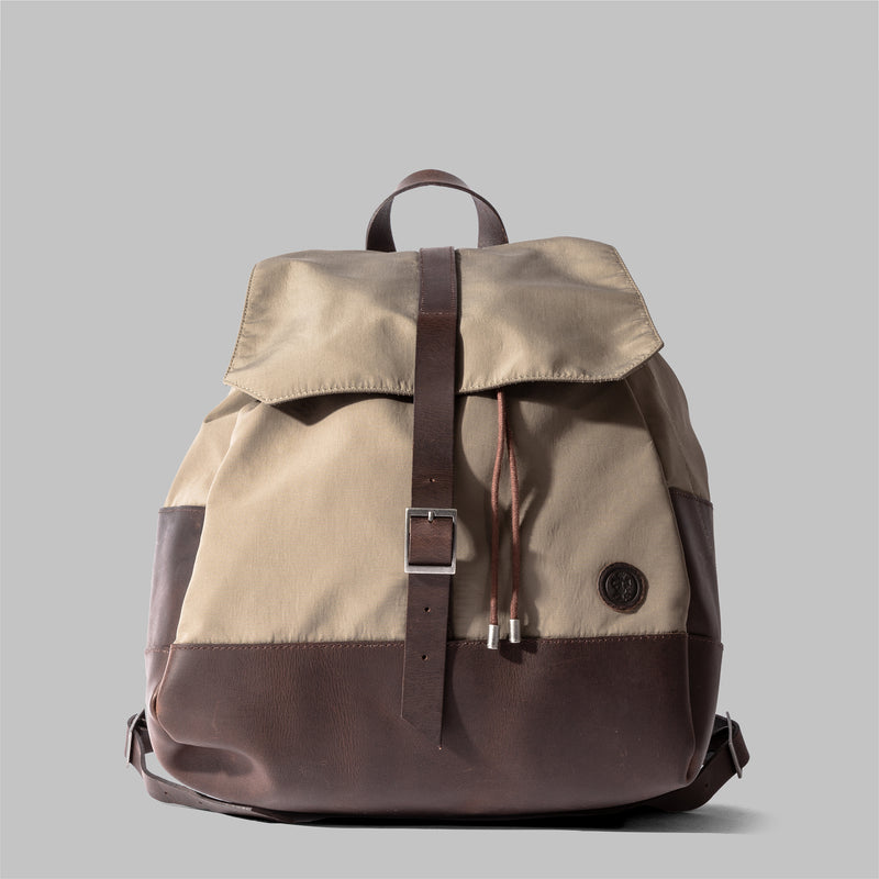 Weston | Womens Beige Nylon & Leather Rucksack | Thorndale, UK