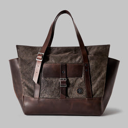 Longton Brown Waxed Cotton Large Tote