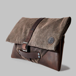 Anslow Brown Waxed Cotton Clutch