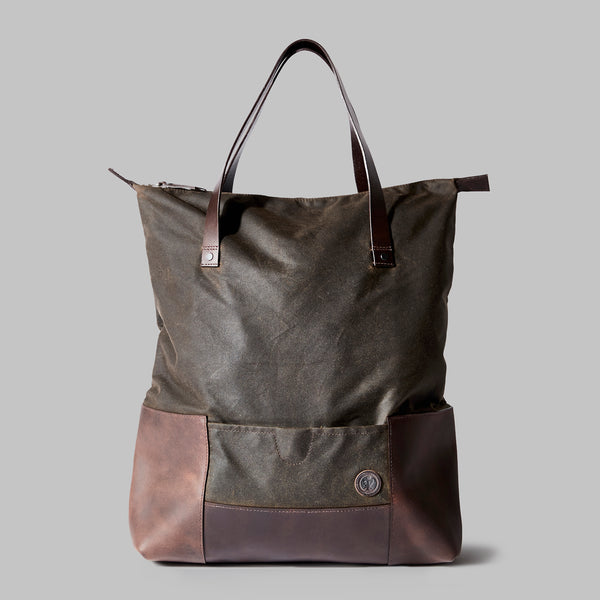 Drayton Olive Waxed Cotton Rucksack Tote