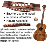 when you guitar intonation is sharp or flat more acoustic guitar compensation is needed at the bridge. The solution is the split saddled compensated acoustic guitar bridge for perfect intonation
